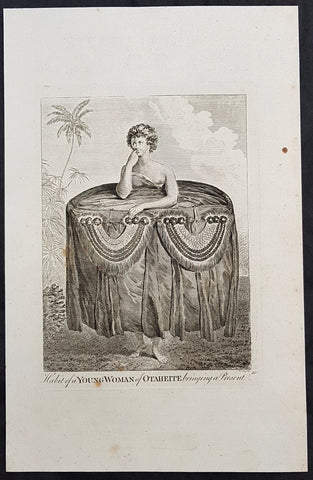 1784 Capt Cook Antique Print a Young Tahitian Presenting Cook a Present in 1777
