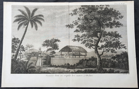 1780 Cook Benard Large Antique Print of the Dead in Elevated Platforms in Tahiti