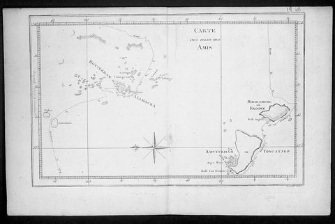 1778 Capt. Cook Antique Map HMS Resolution & Adventure in the Tonga Islands 1773
