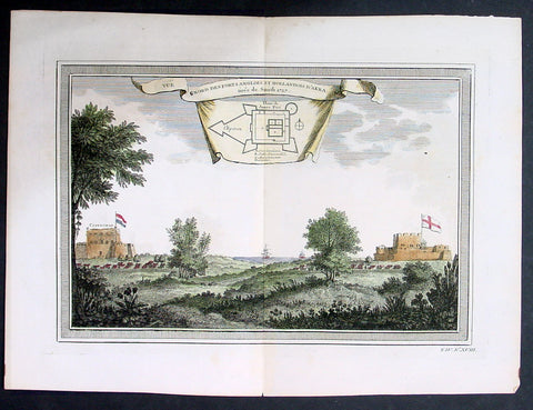 1755 Prevost & Schley Antique Print British & Dutch Forts in Accra, Ghana West Africa