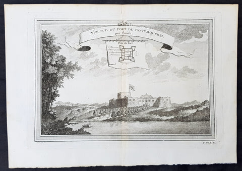 1750 Prevost Antique Print of Slave Fort Tantumquery, Otuam, Ghana, West Africa