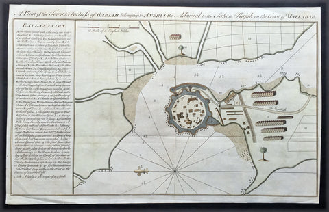 1760 Bowen Antique Map, Plan Fort & Town of Vijaydurg, Maharashtra State, India
