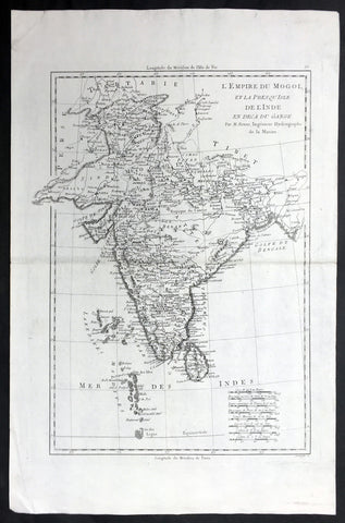 1780 Bonne Antique Map of India - Sri Lanka to Tibet