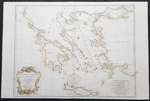 1756 J B D Anville Large Antique Map Greece, Crete, Corfu, Aegean Isles Turkey