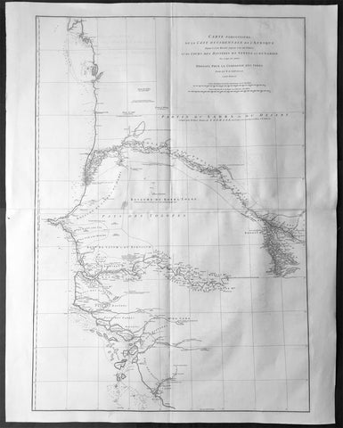 1751 D Anville Very Large Antique Map The West Coast of Africa, Gambia & Senegal