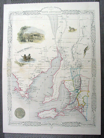 1851 Tallis Antique Map of South Australia
