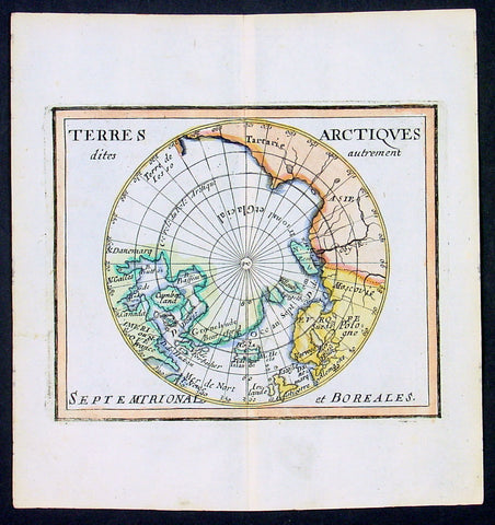 1682 Du Val Original Antique Map of North Pole, North America, Europe, Russia