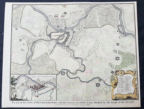 1745 Tindal Antique Map Battle Plan & View Siege of Dendermonde, Belgium in 1706