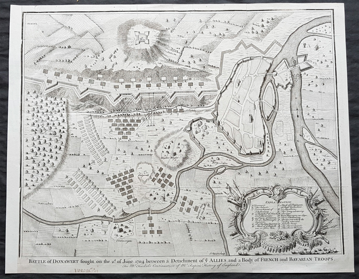 1745 Nicolas Tindal Large Antique Map The Battle of Schellenberg, Germany  1704