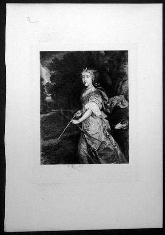 1870 Augustin Mongin after Sir Peter Lely Antique Print of Princess Mary II as Diana
