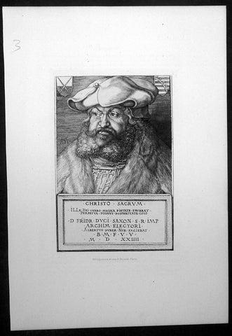 1870 Amand-Durand after Albrecht Durer Antique Print - Frederick III of Saxony