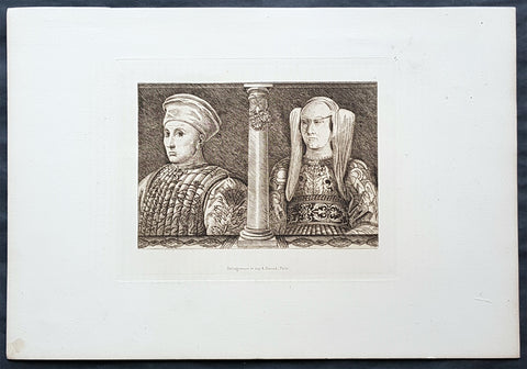 1870 Amand Durand Antique Print of 15th century Italian Nobels