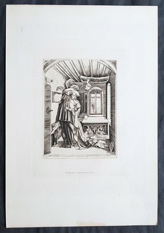 1870 Charles Amand-Durand after Mattaus Zaisinger Antique Print - The Embrace