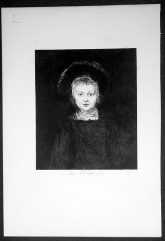 1878 Leon Richeton after Rembrandt of an Antique Print - Portrait of a Boy