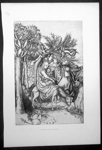 1870 Amand-Durand after Martin Schongauer Antique Print - Flight into Egypt