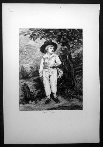 1878 Leon Richeton after Gainsborough Antique Print of a Young Gentleman, William III