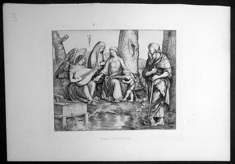1870 Amand-Durand after Jacapo de Barbari Antique Print Holy Family w/ St Paul
