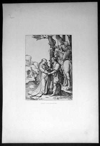 1870 Amand-Durand after Van Leyden Antique Print St George rescuing the Princess