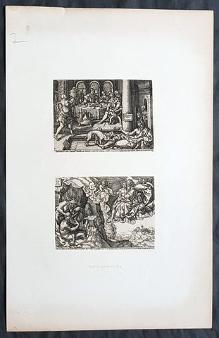 1870 Amand Durand & Heinrich Aldegrever Antique Prints of Lazarus, 16th century