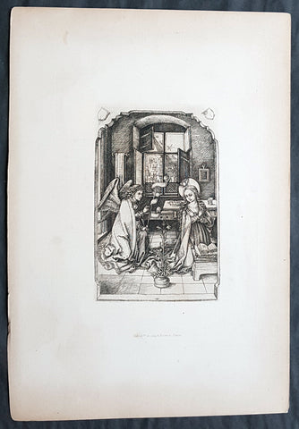 1870 Amand-Durand after Van Leyden Antique Print The Annunciation to Virgin Mary