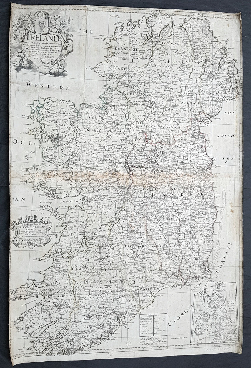 Large Map Of Ireland.1712 John Senex Large Original Antique Map Of Ireland