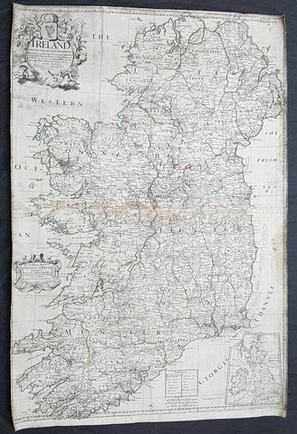 1712 John Senex Large Original Antique Map of Ireland