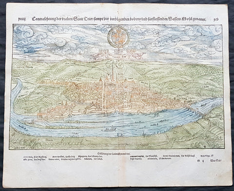1574 Sebastain Munster Antique Print View of Trier Rhineland-Palatinate, Germany