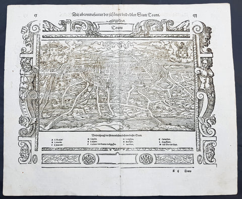 1574 Sebastian Munster Antique Map Birds Eye View of the City of Tours, France