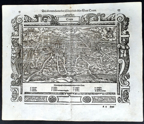 1574 Munster Large Antique Print View of The French City of Tours