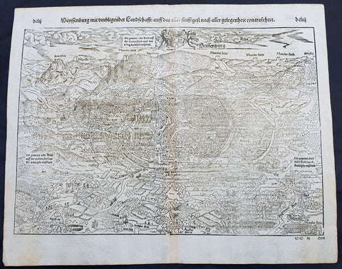 1574 Sebastian Munster Antique Map Birds Eye View of Weissenburg Bavaria Germany