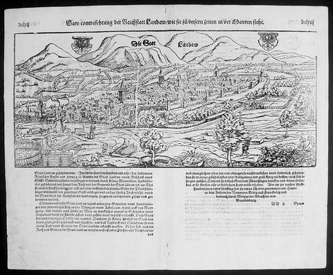 1574 Munster Large Antique Print - View of The German City of Landau, Bavaria