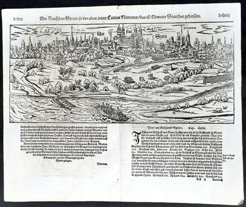 1574 Munster Large Antique Print View of Speyer Rhineland-Palatinate, Germany