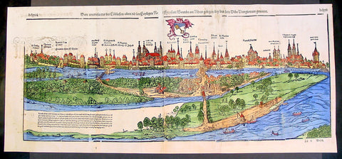 1574 Munster Large Antique Print View of The City of Wormbs, Germany