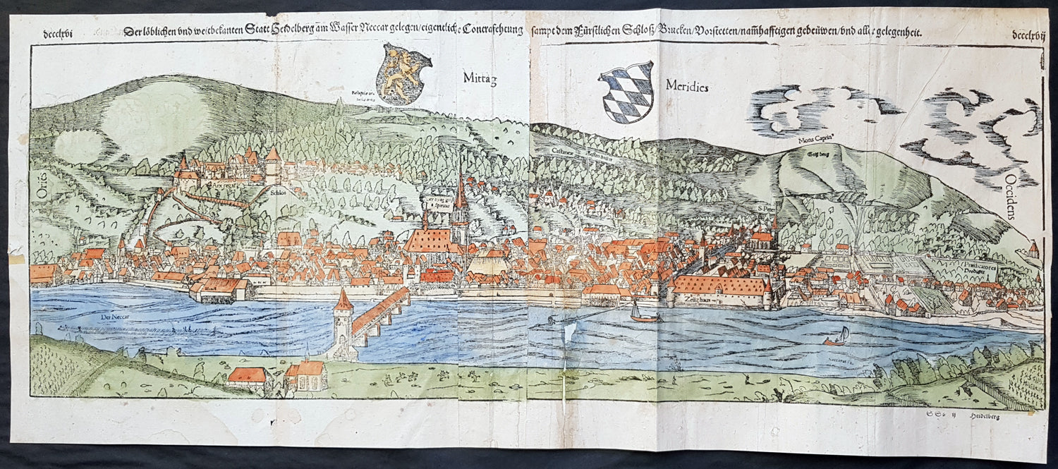 1574 sebastian munster large antique birds eye city view of heidelberg germany