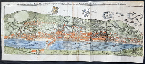 1574 Sebastian Munster Large Antique Birds Eye City View of Heidelberg, Germany