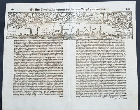 1574 Sebastian Munster Antique Map Birds Eye View of the City of Lubeck, Germany