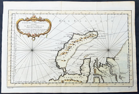 1758 Nicolas Bellin Original Antique Map of Russia The Island of Novaya Zemlya