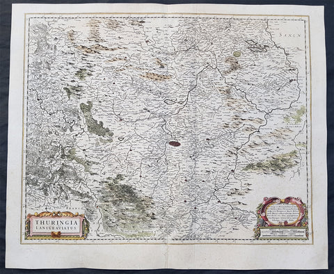 1639 Henricus Hondius Original Antique Map of the German State of Thuringia
