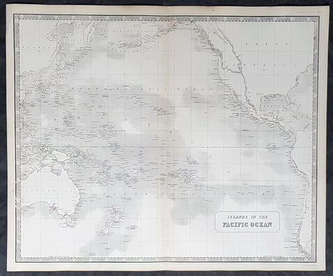 1845 Johnston Large Antique Map of Australia, New Zealand, North America Pacific