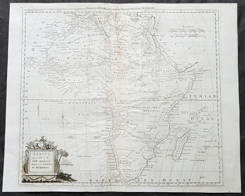 1782 Thomas Kitchin Large Original Antique Map of Africa
