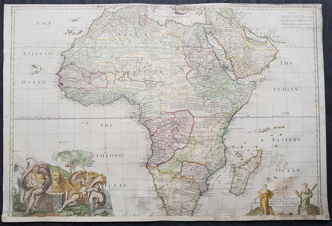 1720 John Senex Large Original Antique Map of Africa - Dedicated to Isaac Newton