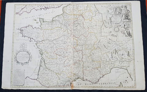 1720 John Senex Large Antique Map of France in Provinces