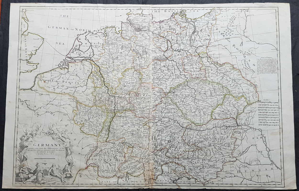 Map Of Central Germany.1710 John Senex Large Antique Map Of Germany Central Europe Baltic To Austria