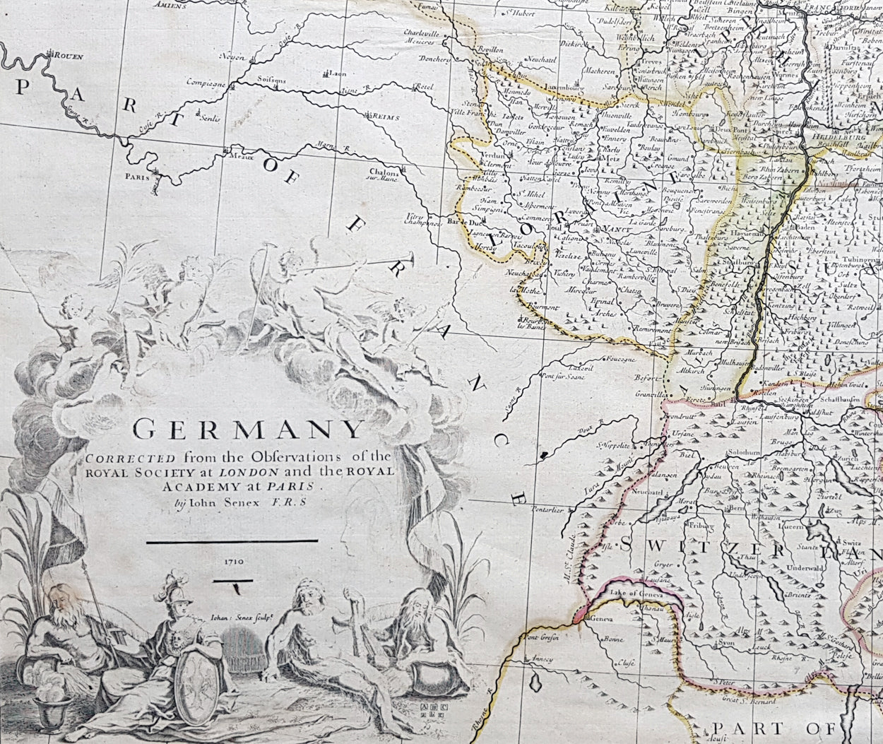 Map Of Germany Austria.1710 John Senex Large Antique Map Of Germany Central Europe Baltic To Austria