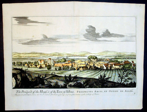 1693 Slezer Antique Print View of the Town of Alloa on Firth of Forth Scotland