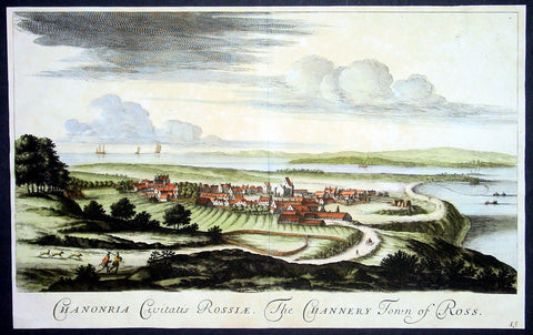 1693 Slezer Antique Print Fortrose View of Ross-shire, Scotland