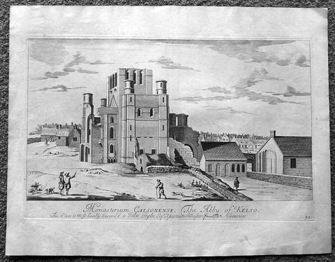1718 Slezer Antique Print View of Kelso Abby & Township, Scotland