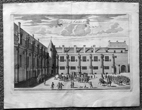 1718 Slezer Antique Print View of Falkland Palace, Fife, Scotland