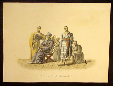 1818 C J McLeod Antique Print of Chief & Attendants of Ryukyu Isles of Japan