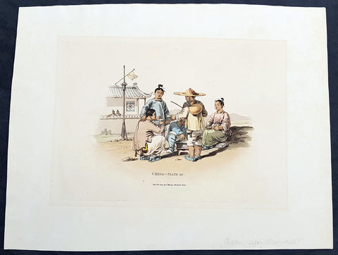 1814 William Alexander Antique Print of Chinese Family Eating a Meal